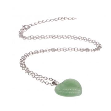Natural Green Aventurine Heart Pendant Necklace 45cm Chain
