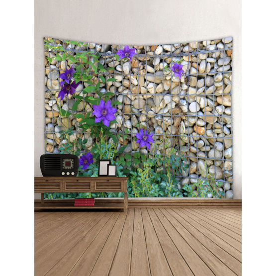 Cobblestone Wall Tapestry Purple Flowers Tapestry Wall Hanging Polyester Print Tapestry for Livingroom Bedroom Home Dorm Decor