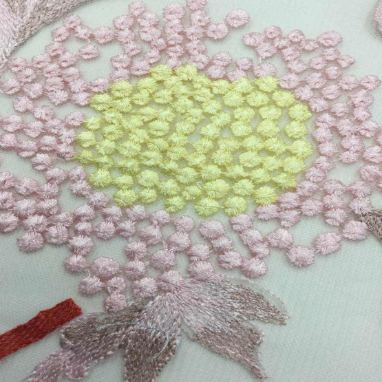 Colorful Sunflower Lace Embroidered Mesh Fabric