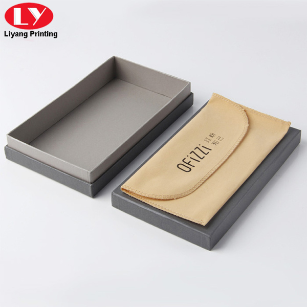 Gray color cardboard sunglasses box with velvet pouch