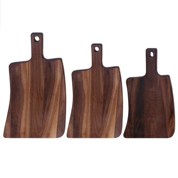 Walnut wood cutting board with handle