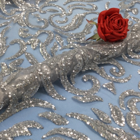 Vantage Gray Sequin Embroidery Tulle Lace