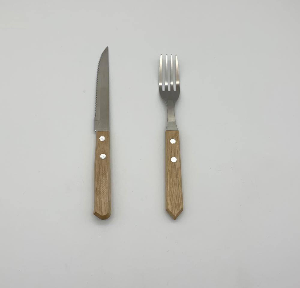 12pcs  wood steak knife and Fork set
