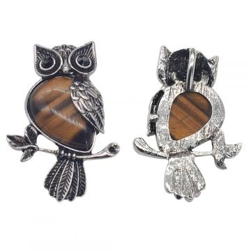 Natural Tiger Eye Alloy Owl Gemstone Pendant fow Women Jewelry Necklace