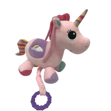 Plush Unicorn Musical Toy Pink