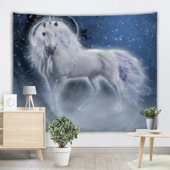 White Unicorns Tapestry Galaxy Wall Hanging Animal Blue Tapestry for Livingroom Bedroom Home Dorm Decor