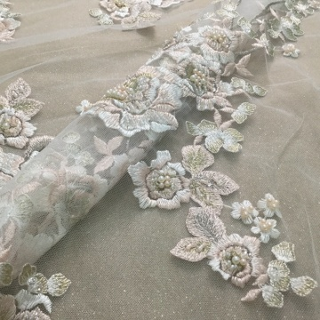 Luxury Beaded Handwork Flower Bridal Fabric