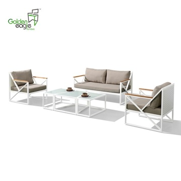 4pcs aluminum PE UV-resistant garden furniture sofa set
