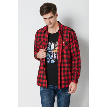 casual cotton printed check long sleeve men's shirts