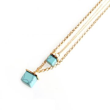 Gold Double Layer Necklace Turquoise Square Pendant