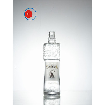 Special Shape Glass Bottle with Intaglio Printing Design