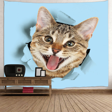 Cat Tapestry Animal Cute Blue Wall Hanging 3D Print Tapestry for Children Livingroom Bedroom Home Dorm Decor