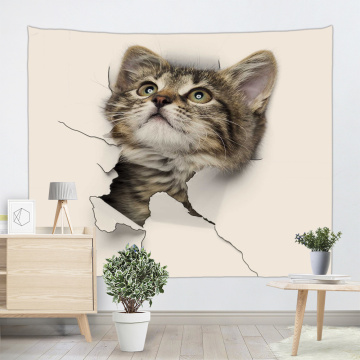 Cat Lovely Tapestry Animal Cute Wall Hanging 3D Print Tapestry for Children Livingroom Bedroom Home Dorm Decor