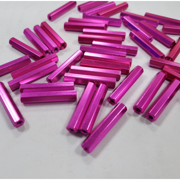 M3X45mm pink anodized hex aluminum standoff for hexacopter