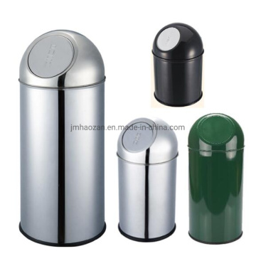 Round Push-Type Stainless Steel Dust Bin