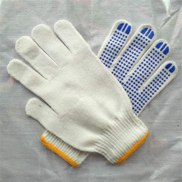 Hot Sale Navy Blue Knitted PVC Dotted Glove