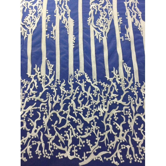 Flat White Embroidery Lace Fabric