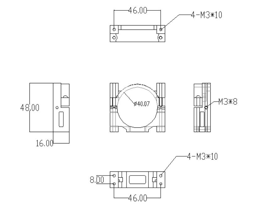 40mm Alloy Pipe Clamp Dimension