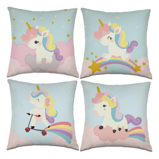Set of Unicorn Throw Pillow Covers Pink Cute Animal Decorative Cushion Cover Pillow Case for Sofa Bedroom Car Couch 18 x 18 Inch