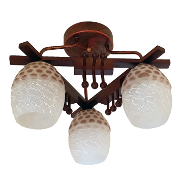 Wooden Plant Hanging Light Glass ceiling Lighting