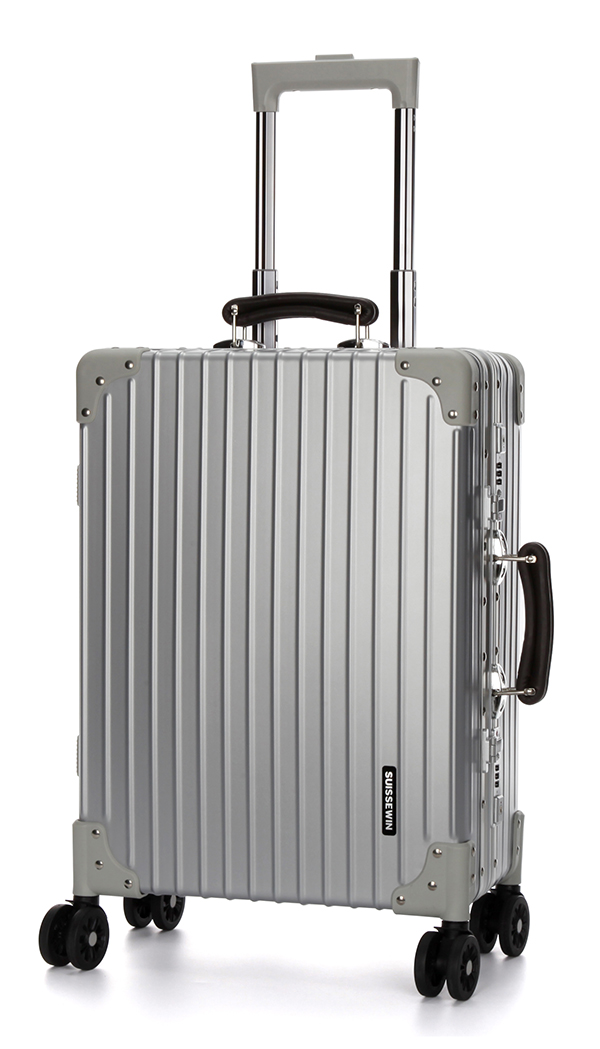 Great intensity scratch-resistant silver suitcase