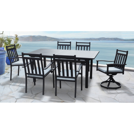 7pcs black outdoor aluminum popular dining set