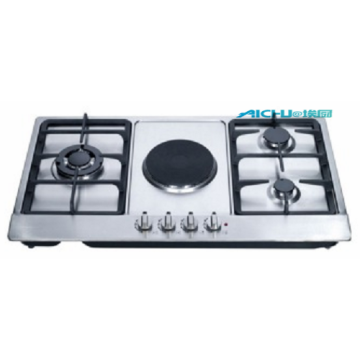 4 Burners Steel Gas Hob WithCast Iron PanSupports