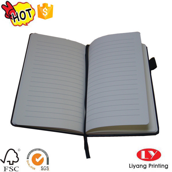 Hot PU office notebook printing with ribbon