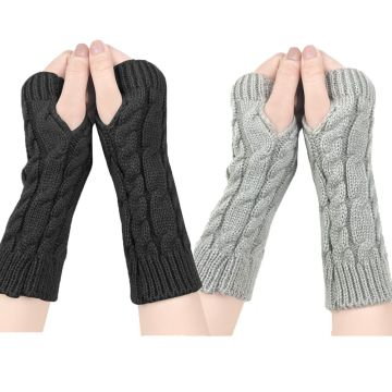 YONHEE Women Arm Gloves Fingerless Knitted Mittens