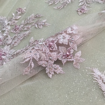 Pink Rhinestion Handwork Embroidery Fabric
