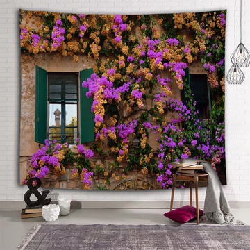 Yellow Purple Flower Wall Tapestry Countryside Window Floral Tapestry Wall Hanging for Livingroom Bedroom Dorm Home Decor