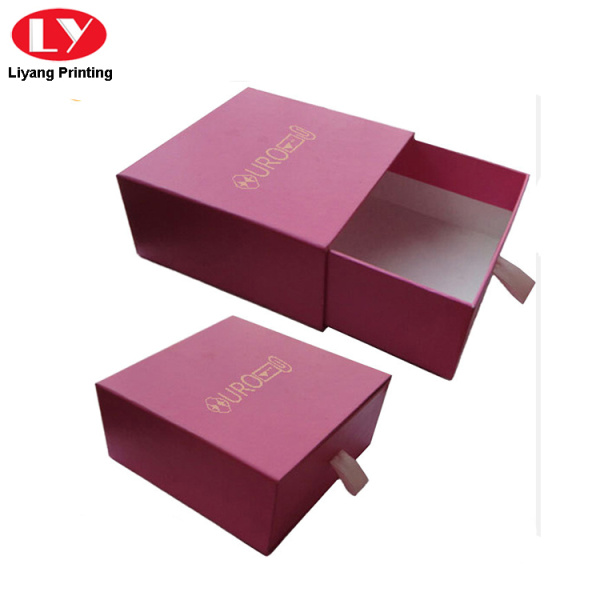 Red cardboard slide drawer jewelry packaging box