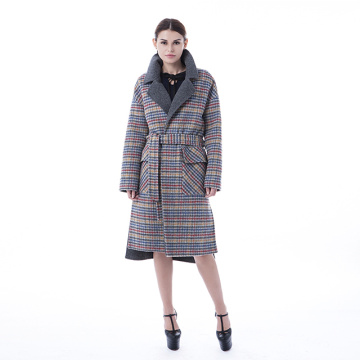 Plaid cashmere coat with plaid collar
