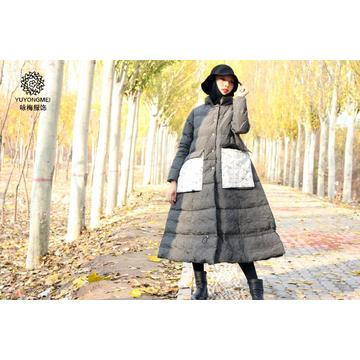 White goose women thickened knee down coat