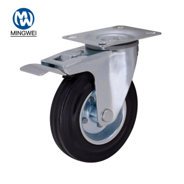 5 Inch Rubber Swivel Wheels With Brake