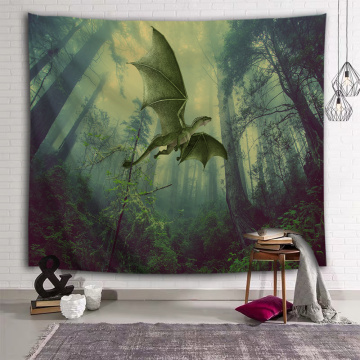 Flying Dinosaur Tapestry Wall Hanging Wild Anicient Pterosaur Wall Tapestry Tropical Rain Forest for Children Bedroom Living Roo