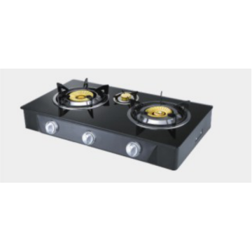 Three Burner Glasstop Brass Burner Gas Hob