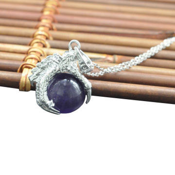 Wholesale Fashion Jewelry Amethyst Sphere Dragon Claw Pendant