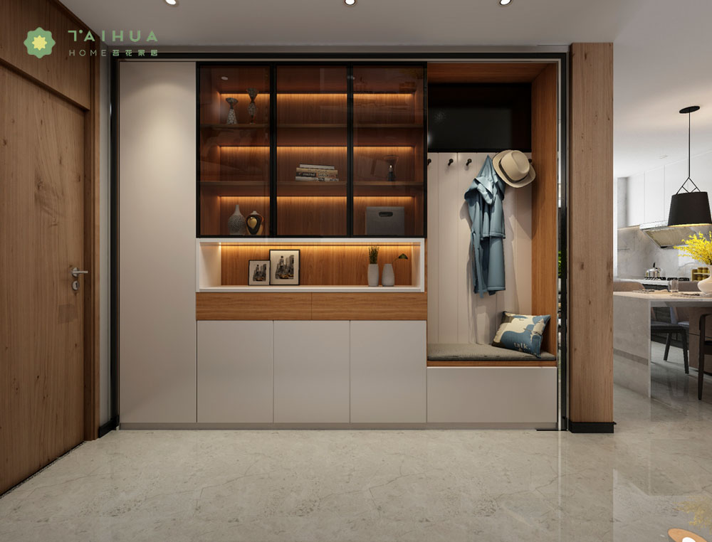 Modern Hallway Cabinet with Coat Rack
