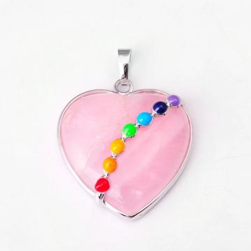 Natural Heart Gemstone Pendant with Seven Chakras Stone