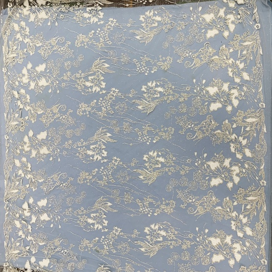Top Glitter Mesh Fabric White Pearl Fabric