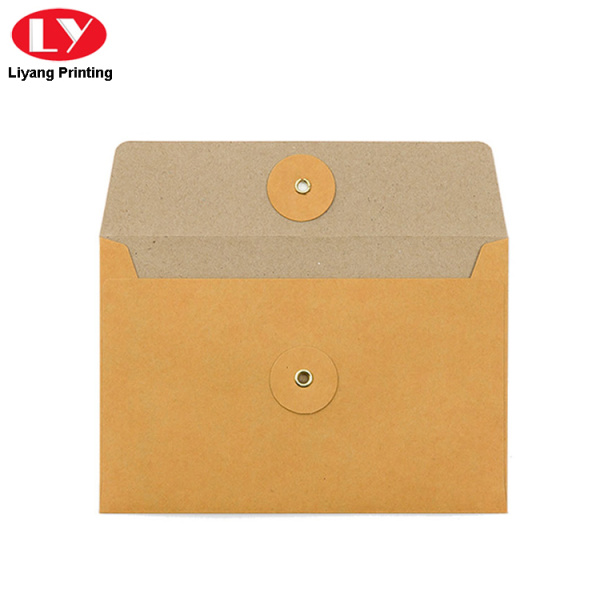 brown kraft paper envelope with closure button