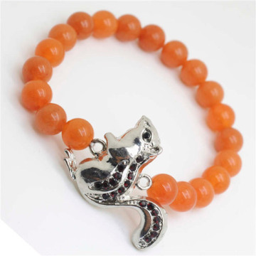 Red Aventurine Gemstone Bracelet with Diamante alloy squirrel Piece