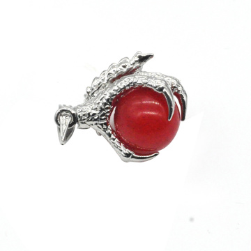 925 Sterling Silver Red Jade 15MM Sphere Dragon Claw Pendant Jewelry