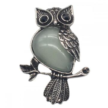 Natural Green Aventurine Alloy Owl Gemstone Pendant fow Men Jewelry Necklace
