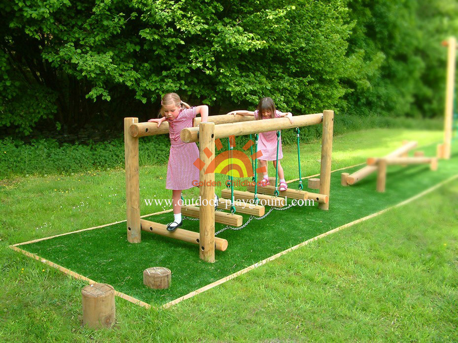 Wooden-rope balance bridge playground for kids