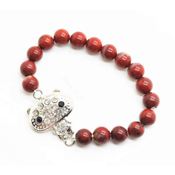 Red Jasper 8MM Round Beads Stretch Gemstone Bracelet with Diamante alloy Piece