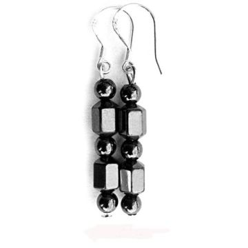 Dual-Shaped Hematite Earring With 925 Silver Hook