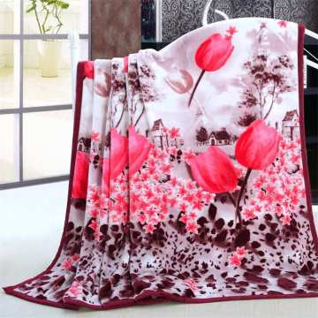 Top Selling Flower Design Printed Flannel Blanket Wholesale