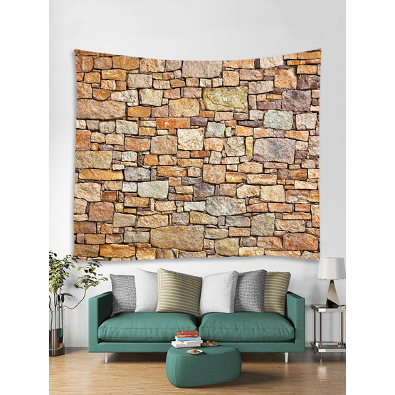 Brick Tapestry Wall Hanging Yellow Stone Wall Tapestry Polyester Print for Livingroom Bedroom Dorm Home Decor